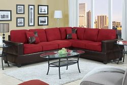 Divano Roma Furniture 2 Piece Classic Large Microfiber and Faux Leather Sectional Sofa with Matc ...