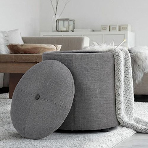 Ottomans Lucia Storage Chest Grey Fabric: Grey Fabric Round Storage Accent One Button-Tufted Ottoman