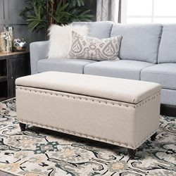 Dynasty Fabric Storage Ottoman (Wheat)