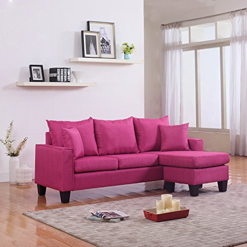 Sectional Sofa Couch Reversible Chaise Ottoman Furniture: Modern Linen Fabric Small Space Sectional Sofa With