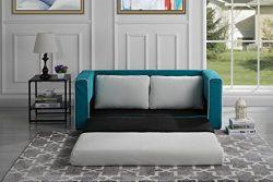 Modern 2 Tone Modular / Convertible Sleeper (Blue / Beige)