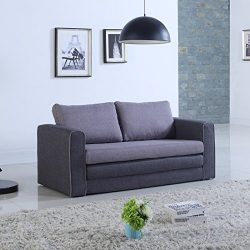 Modern 2 Tone Modular / Convertible Sleeper (Grey / Dark Grey)