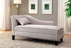 Furniture of America CM-CE2185BG Stillwater Beige Fabric Chaise  , 31.5″ H