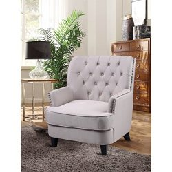 Best Master Furnitures Best Master Furniture ZH117 Fabric Living Room Arm  Accent Chair Taupe