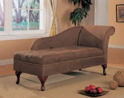 Brown Microfiber Chaise Lounger Accented with Nail Heads