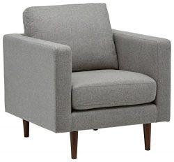 Rivet Revolve Modern Accent Chair, Grey Weave