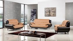 American Eagle Furniture Highland Complete 3 Piece Living Room Leather Sofa Set, Yellow/Brown