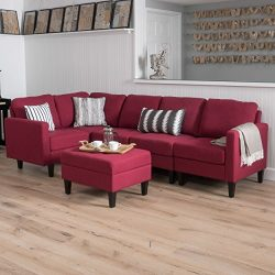Carolina Deep Red Fabric Sectional Couch with Storage Ottoman