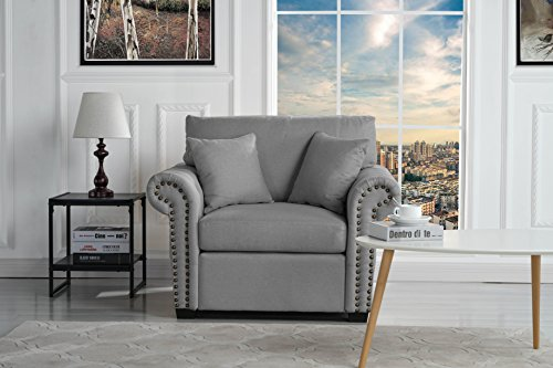 Classic and Traditional Linen Fabric Accent Chair - Living Room ...