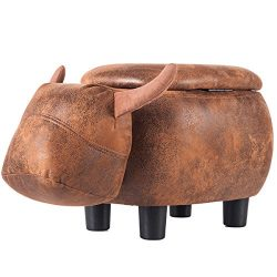Merax Have-Fun Series Upholstered Ride-on Storage Ottoman Footrest Stool with Vivid Adorable Ani ...