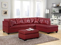 GTU Furniture Pu Leather Living Room Furniture Sectional Sofa Set in Black/Red (Without Ottoman, ...
