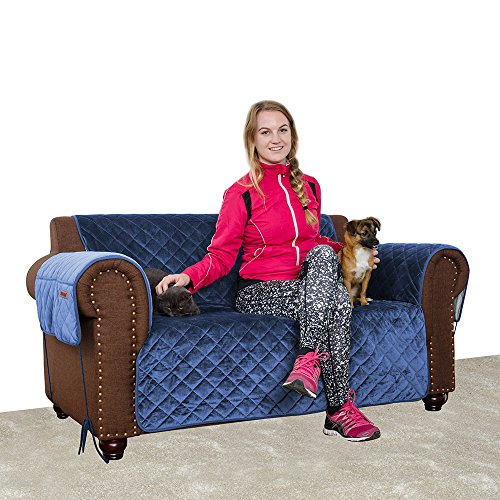 Furry Buddy Quilted Velvet Pet Loveseat Cover Water