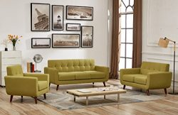 Container Direct Jenny Mid-century Modern Button Tufted Loveseat, Olive Green
