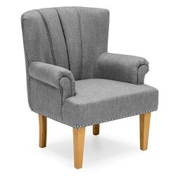 Best Choice Products Living Room Accent Chair w/ Nailhead Detail, Linen Upholstery, Armrest, and ...