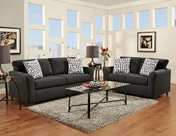 Roundhill Furniture Mazemic Microfiber 2 Seater Sofa and Loveseat Set with Pillows, Black