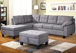Harper & Bright Designs Sectional Sofa Set with Chaise Lounge and Storage Ottoman Nail Head  ...