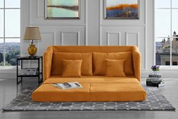 Modern Soft Brush Microfiber Modular / Convertible Sleeper Sofa (Yellow)