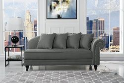 Large Classic Velvet Fabric Living Room Chaise Lounge with Nailhead Trim (Dark Grey)