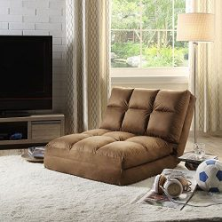 Loungie Micro-Suede 5-Position Adjustable Convertible Flip Chair, Sleeper Dorm Bed Couch Lounger ...