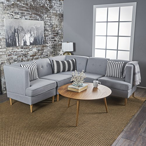 Milltown 5pc Mid-Century Tufted Modular Sectional Sofa