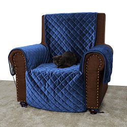 Furry Buddy Quilted Velvet Pet Recliner Cover, Water Resistant Couch Furniture Cover, Non-Slip S ...