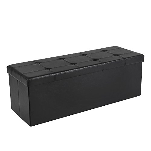 Songmics Faux Leather Folding Storage Ottoman Seat Bench