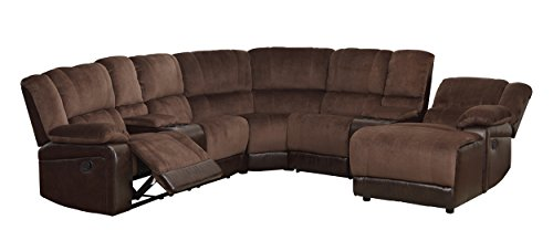 Homelegance 5 Piece Microfiber/Bonded Leather Sectional ...
