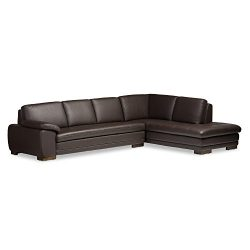 Baxton Studio Diana Sectional Sofa/Chaise, Dark Brown