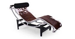 Kardiel Gravity Chaise Lounge, Brown & White Cowhide
