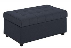 DHP Emily Rectangular Storage Ottoman, Modern Look with Tufted Design, Lightweight, Blue Linen