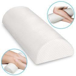 Back Pain Relief Memory Foam Pillow – Half Moon Bolster Knee Pillow for Side, Back, Stomac ...