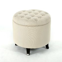 Belleze Modern Button Tufted Accent Storage Ottoman Lift Top Footstool 17-3/4″ Round (Beige)