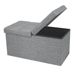 Otto & Ben 30″ SMART LIFT TOP Ottoman Bench – Light Grey / Folding Storage Ottom ...