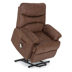 Seatcraft Prescott Power Lift Reclinable Premium Fabric Chair with Lay-Flat Recline (Brown)