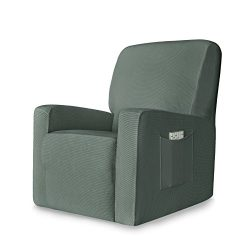 Chunyi 1-Piece Stretch Spandex Jacquard Recliner Chair Slipcovers (Recliner, Dark Cyan)