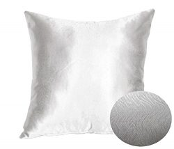 Silver Steel Gray Decorative Textured Satin Cushion Cover Throw Square Pillowcase for Chair Sofa ...