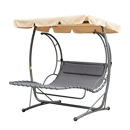 Outsunny Double Chaise Lounge Chair Hammock Swing W