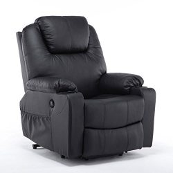 Mcombo Electric Power Lift Massage Sofa Recliner Heated Sofa Lounge w/ Remote Control, 7040 (Black)