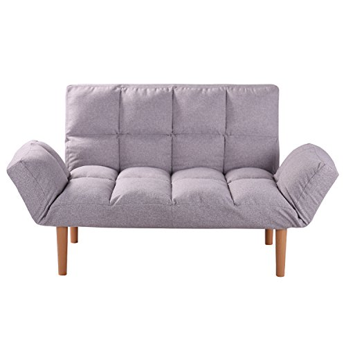 Convertible Loveseat Folding Couch Modern Grey Small