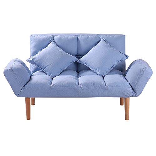 Blue Small Convertible Futon Sofa Loveseat Folding Futon