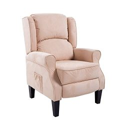HomCom Heated Vibrating Suede Massage Recliner – Cream White