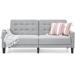 Best Choice Products Convertible Linen Upholstered Split Back Futon (Gray)
