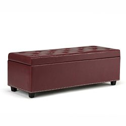Simpli Home Hamilton Rectangular Storage Ottoman Bench, Large, Radicchio Red