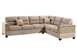 Poundex F7860 Bobkona Parrish Linen-Like Left or Right Hand Reversible Sectional, Sand