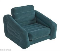 Pull Out Chair Convertible Sleeper Sofa Single Dorm Bed Camping RV Guest Lounger