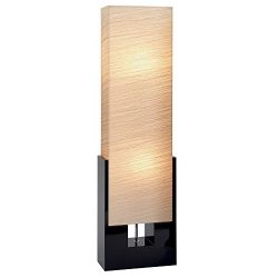 48″ Contemporary Living Room Floor Lamp with Square Beige Shade & Black Wooden Base