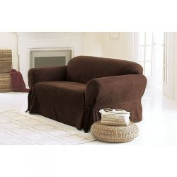 Sure Fit Soft Suede 1-Piece  – Loveseat Slipcover  – Chocolate (SF34540)