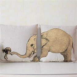 Foreverstore 2Pcs Cotton Linen Pillow Case Animal Creative Pillowcase Chair Seat Waist Square Pa ...