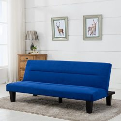 Belleze Convertible Sofa Adjustable Futon Bed Legs and Upholstered in Rich Blue Microfiber