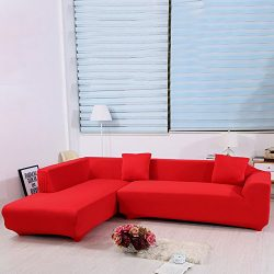 JIAN YA NA Stretch Sofa Covers Polyester Spandex Fabric Slipcover 2pcs Polyester Fabric Stretch  ...
